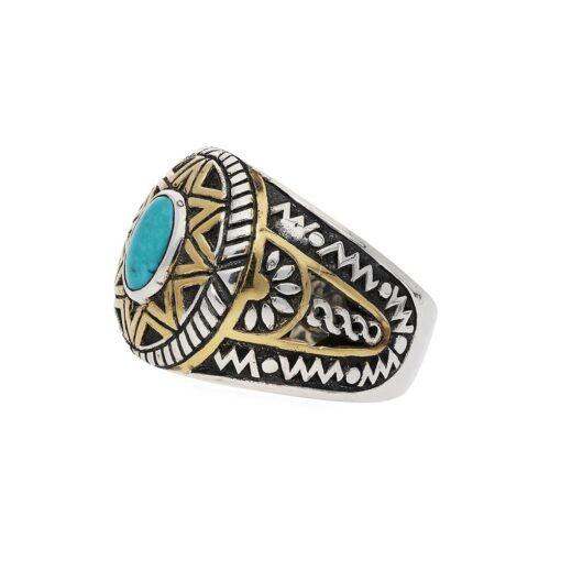 Ring man silver sun ethnic turquoise 5