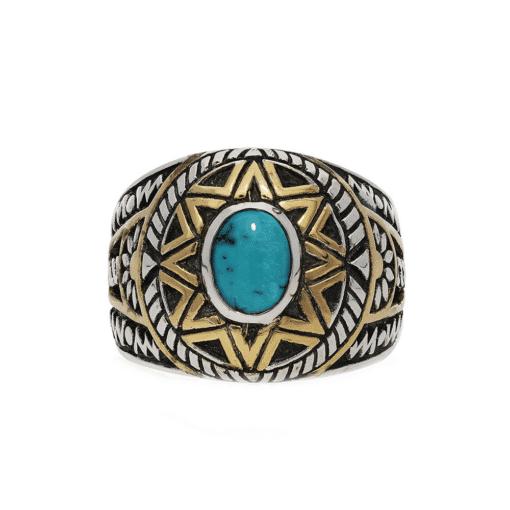Ring man silver sun ethnic turquoise 3