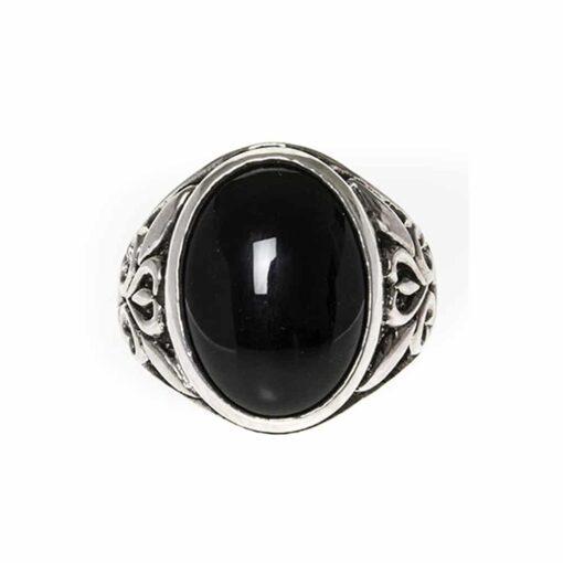 Men's silver ring stone symbol onyx 2