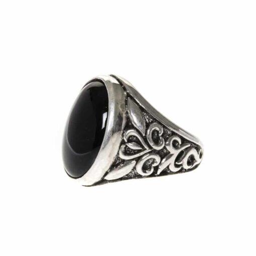 Men's silver ring stone symbol onyx 3