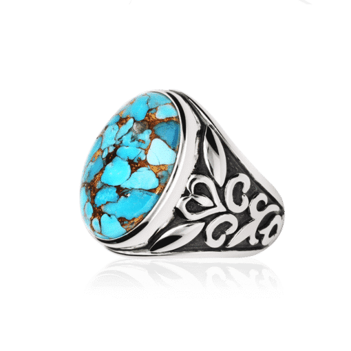 Men's silver ring stone turquoise symbol 4