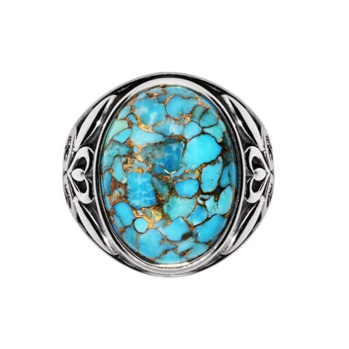 Men's silver ring stone turquoise symbol 3