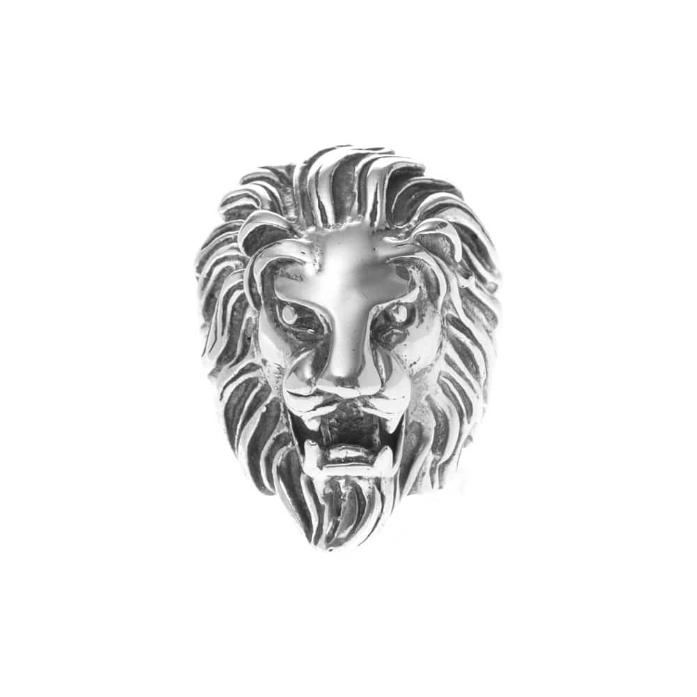 Bague tête de lion sauvage argent homme 1