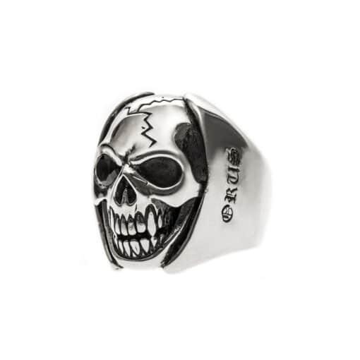 Bague homme tête de mort argent big skull 4
