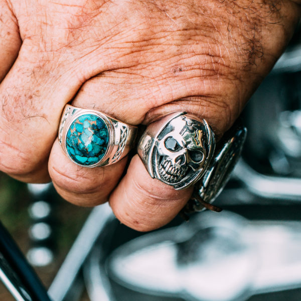 Men's ring massive turquoise silver 5