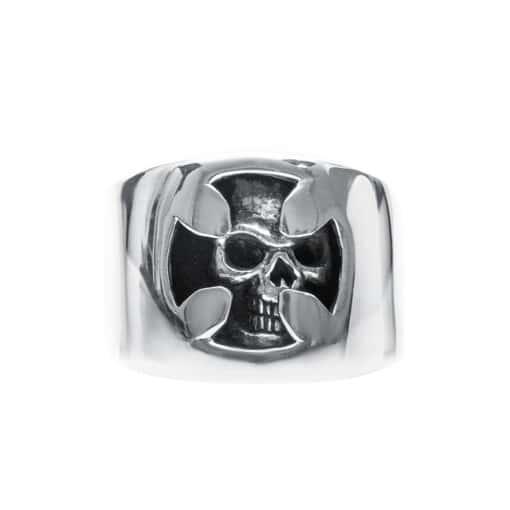 Men's skull and silver cross ring 3