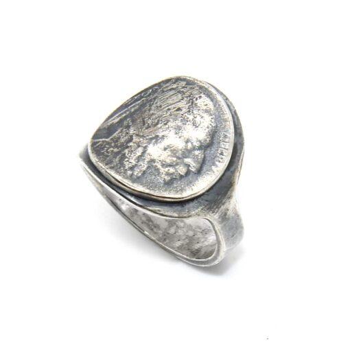 Moeda de prata de cabeça indiana de anel homem 7