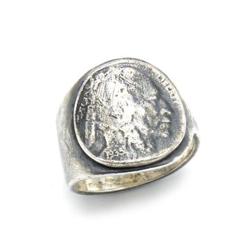 Moeda de prata de cabeça indiana de anel homem 5