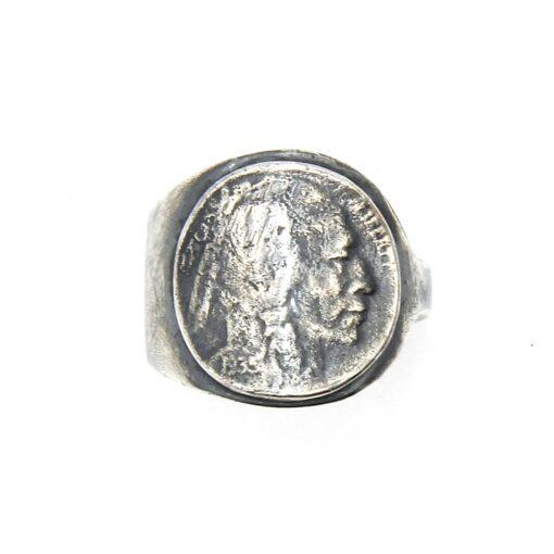 Moeda de prata de cabeça indiana de anel homem 3