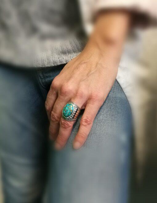 戒指男子青金石印第安纳银5