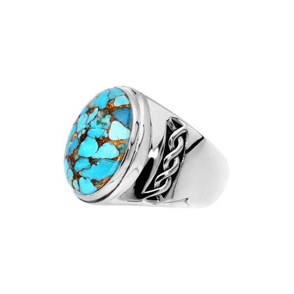 Men's ring massive turquoise silver 4