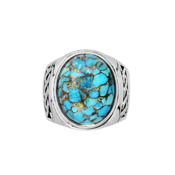 Men's ring massive turquoise silver 3