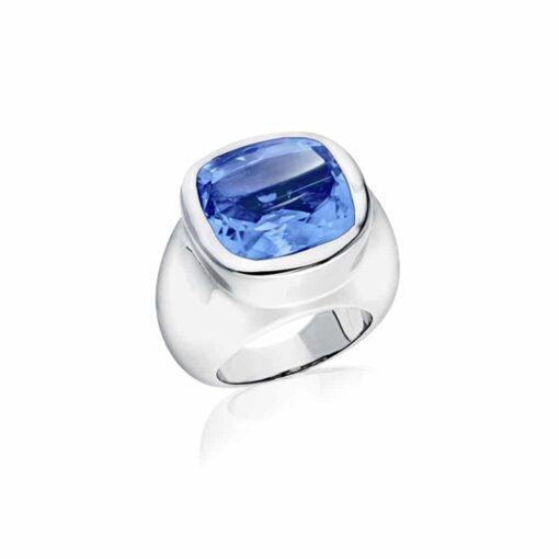 Bague Venus argent  pierre quartz bleu 3