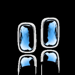 小蓝宝石银鹅卵石耳环8