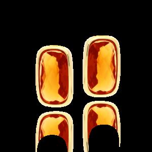 橙色卵石小卵石耳环6