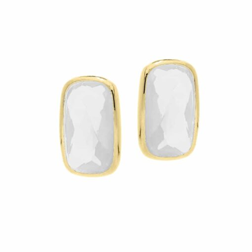 Small pebble earrings in gilded silver white stone 3