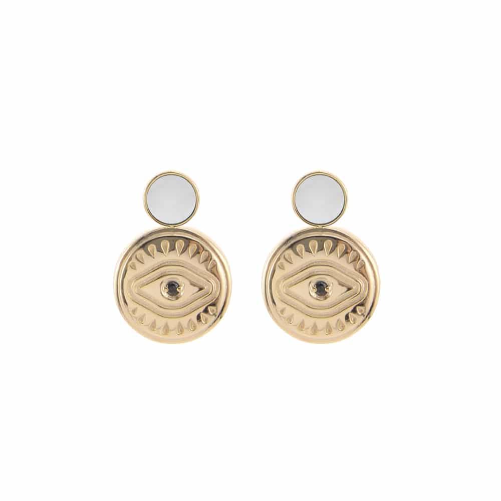 Boucles d'oreilles argent doré sarah nacre blanche 3