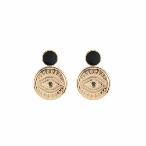 Sarah black onyx silver gold earrings 3