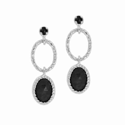 Antique rhodium silver black spinel earrings 3