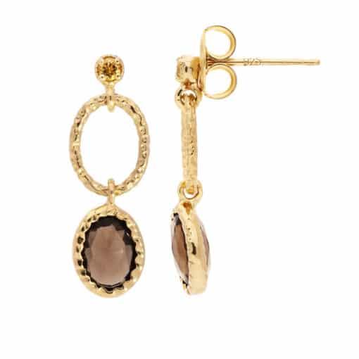 Antique gold smoked quartz earring 4