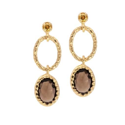 Antique gold smoked quartz earring 3