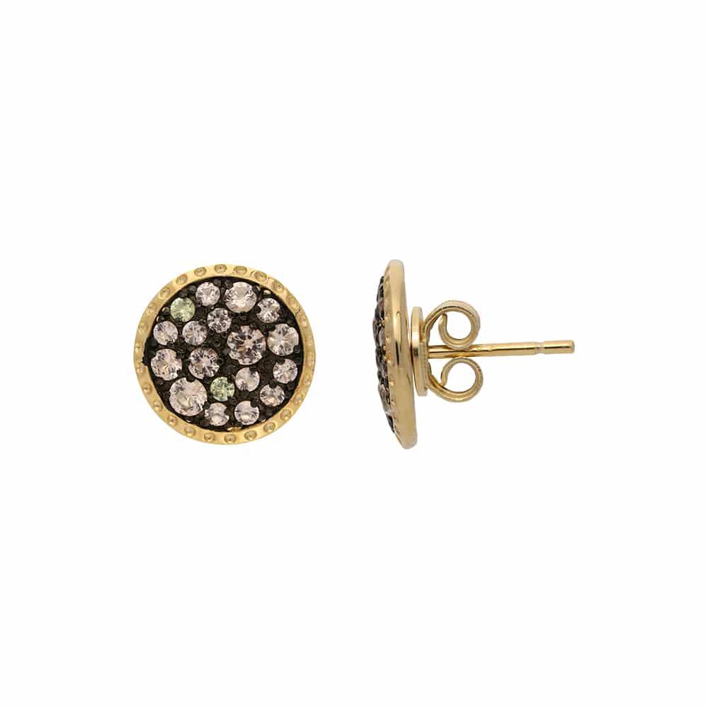 Boucle d'oreilles doré noir zirconiums champagne 2