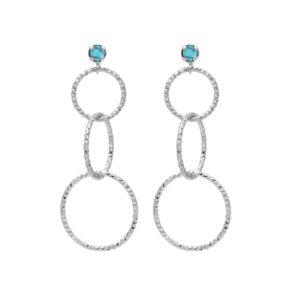 银耳环3d Rhodia和天然石材圆圈6