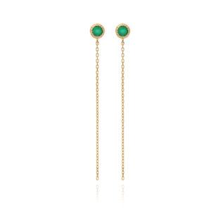带有金链和绿色独奏石的银耳环5
