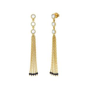 耳环银色金色印白色流苏黑色尖晶石5