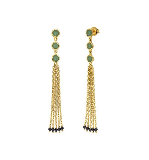 Boucles d'oreille argent doré indy pompon onyx verte spinelle noire 1