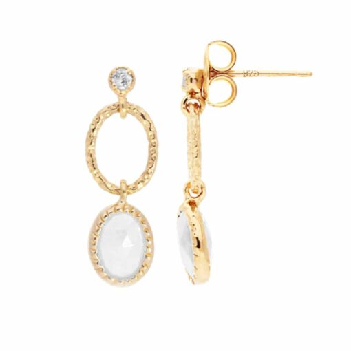 Antique rhodium plated silver moonstone earrings 5