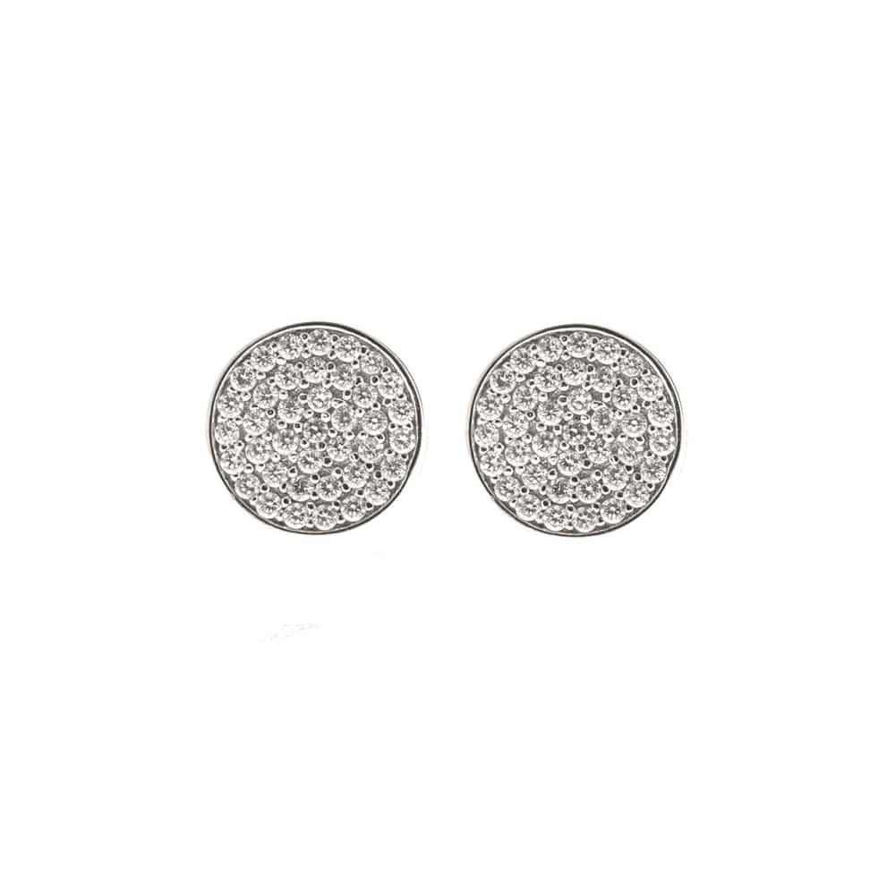 Boucles d'oreilles puce argent médaillon 3