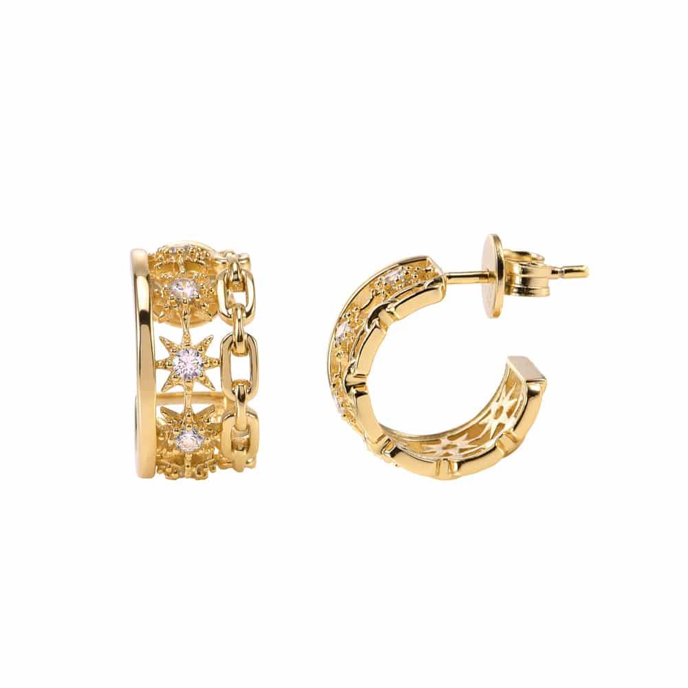 Boucles d'oreilles argent doré Étoile sertie de zirconiums blanc 3
