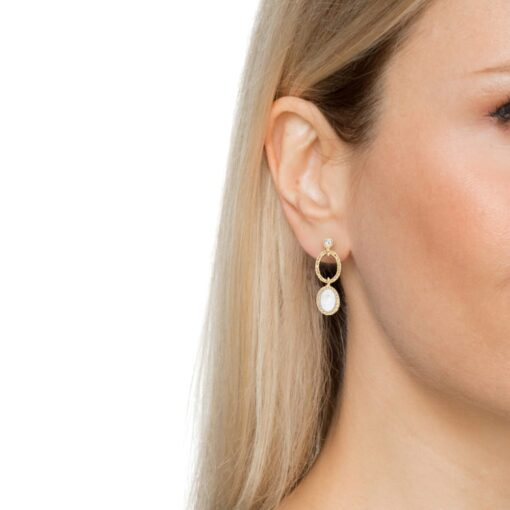 Antique rhodium plated silver moonstone earrings 4