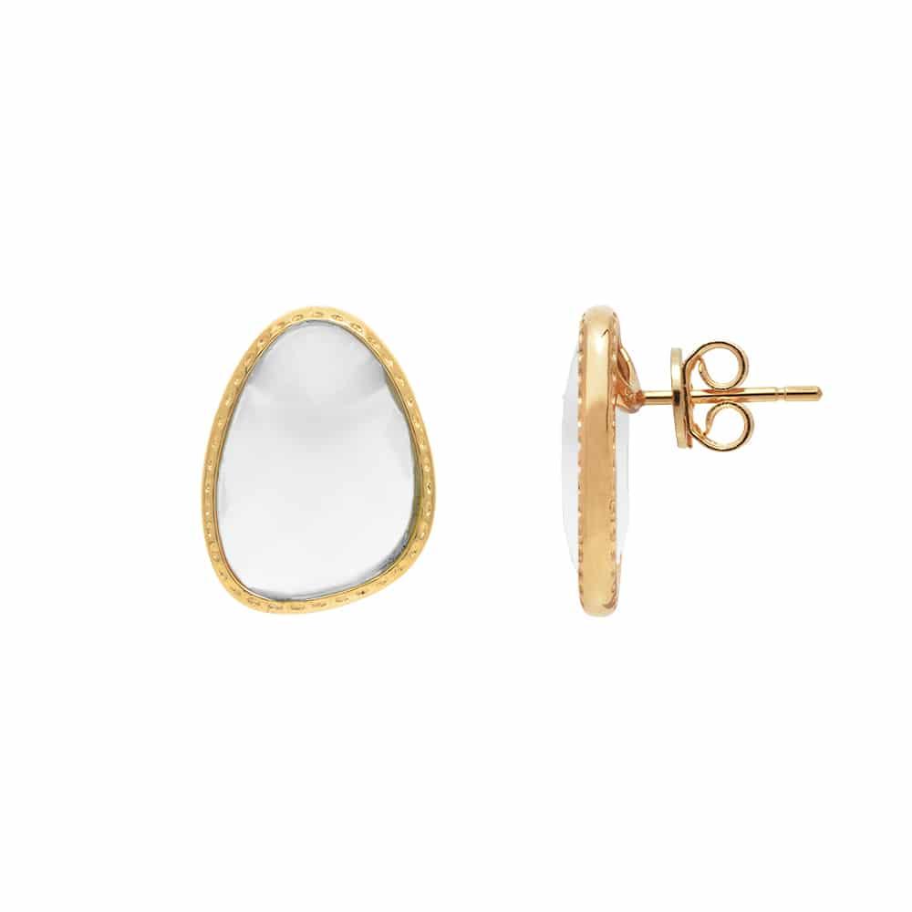 Boucles d'oreilles argent doré victoria cristal blanc 3