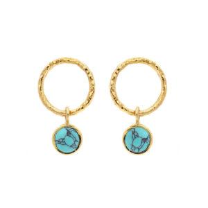 耳环最小限度的银金和绿松石7