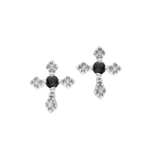 Boucles d'oreilles argent  petite croix pierre naturelle spinelle 5