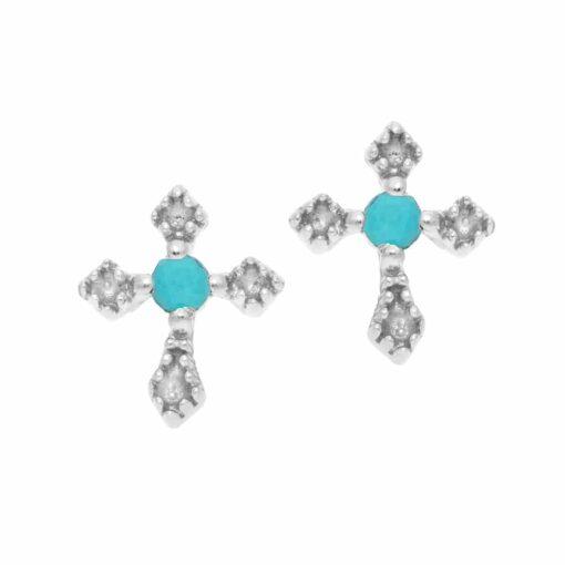 Boucles d'oreille argent petite croix pierre turquoise 3