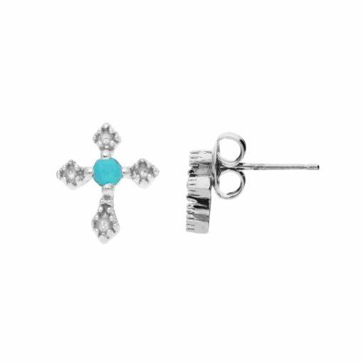 Boucles d'oreille argent petite croix pierre turquoise 4