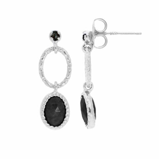Antique rhodium silver black spinel earrings 4