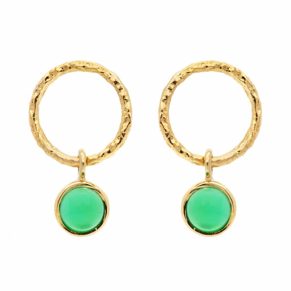 Boucles d'oreille minimale avec jolie pierre naturelle doré onyx vert 2