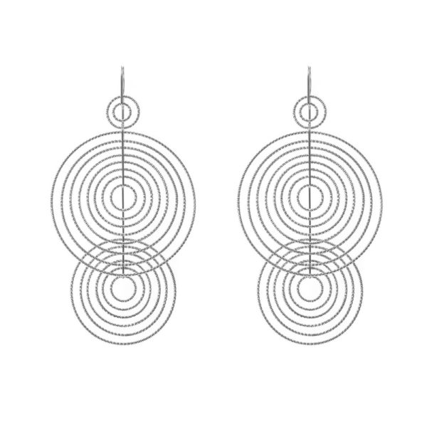 Boucles d'oreilles 3D spirales rhodié 1
