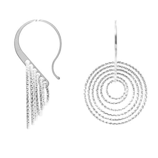 Boucles d'oreilles 3D tourmente rhodié 4
