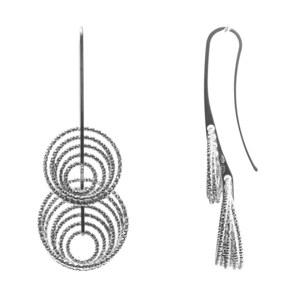 3D vertigo rhodium earrings 3