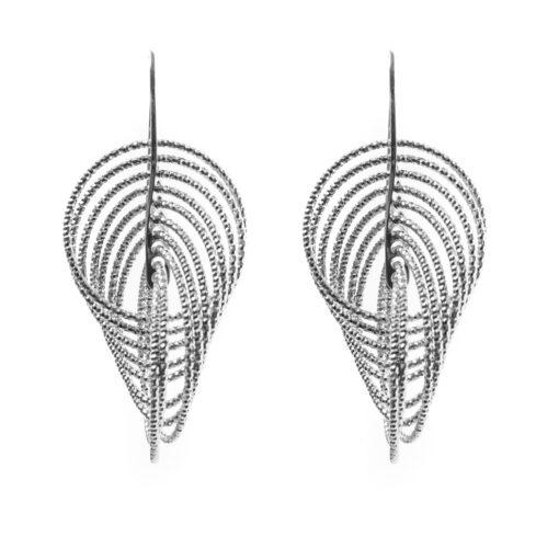 Boucles d'oreilles 3D vertigo rhodié 2