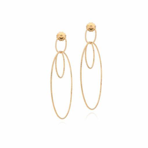 Boucles d'oreilles argent doré créoles multiples entrelacées 3