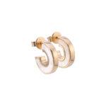 Boucles d'oreilles anna en argent doré pierre nacre zirconium blanc 5