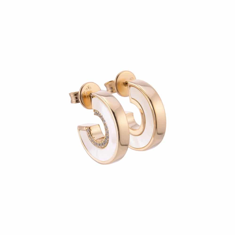 Boucles d'oreilles anna en argent doré pierre nacre zirconium blanc 4