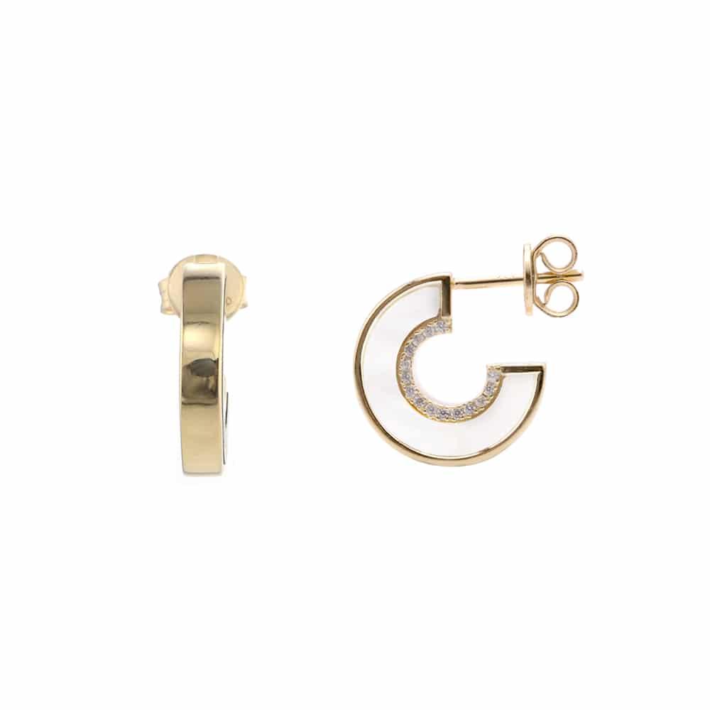Boucles d'oreilles anna en argent doré pierre nacre zirconium blanc 3