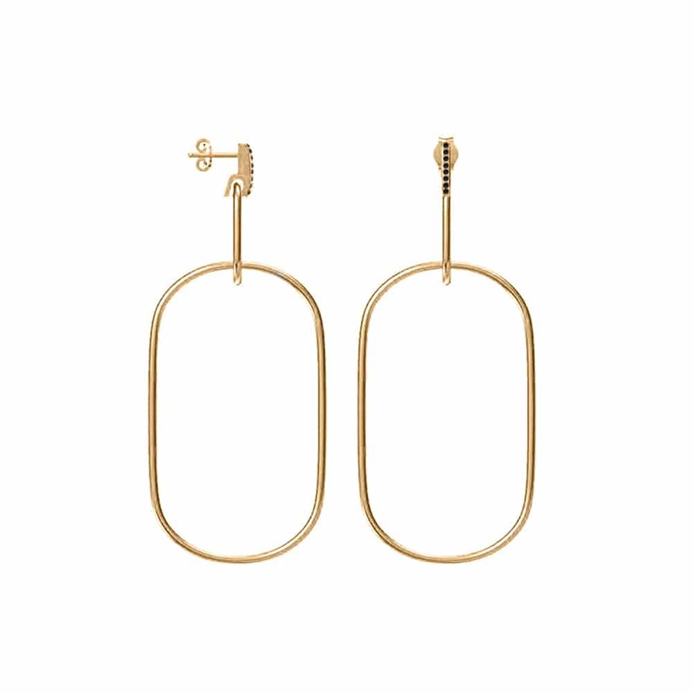 Boucles d'oreilles anneau grand modèle doré olga sertie de zirconiums noir 3